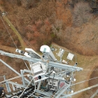 Downward view of cell tower